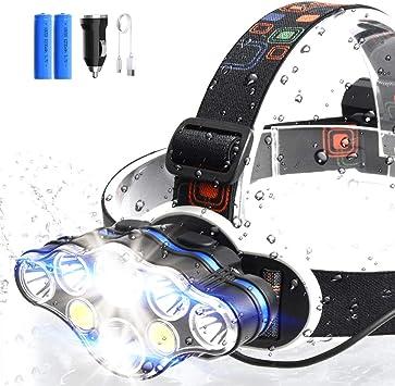 ERAY Linterna Frontal LED Recargable Alta Potencia 8 LEDs/ 10000 ...