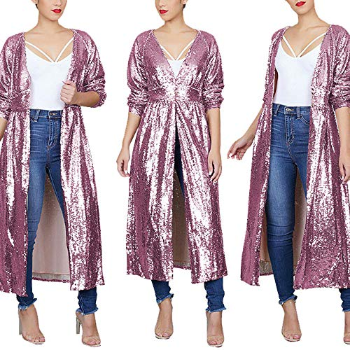 - ONIEZZFOIR Rainbow Sparkly Sequin Loose Cover Up Long Sleeve Open Front Cardigan Coat Dress for Women's Clubwear(PINKCOAT,M)