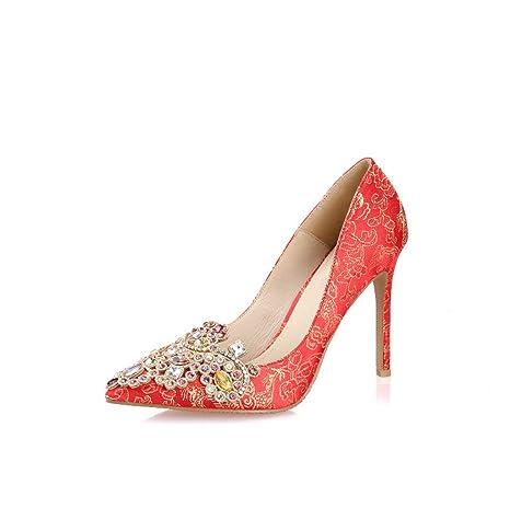 Zapatos elegantes elegantes femeninos del alto talón del dedo del pie zapatos de seda de la