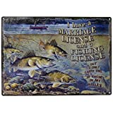 River's Edge Marriage & Fishing License Tin Sign