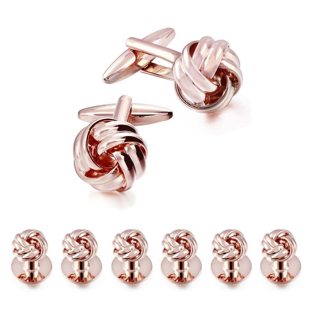 HAWSON Flower Knot Cufflinks and Tuxedo Studs Set Men Dress Shirt Studs Wedding Business Accessories (Rose Gold Tone)