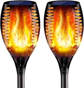 2PCs Solar Torch Lights Outdoor, 43 inch 96 LED, Waterproof Landscape Garden Pathway Light with Vivid Dancing Flickering Flames, with Auto On/Off Dusk to Dawn, for Christmas Lights Decoration