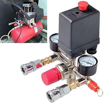 cnmodle Interruptor de presión regulador de múltiples piezas de calibres Compresor De Aire Interruptor De La Válvula De Control 90 - 120PSI horizontal: ...