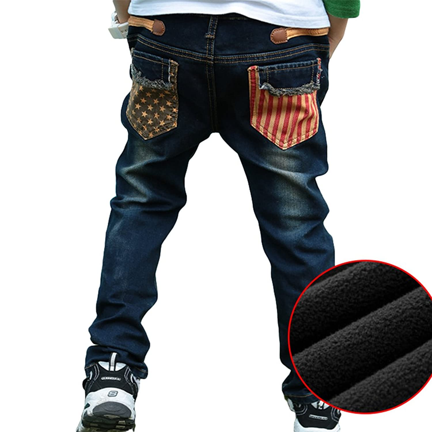 Yiiquan Boys Skin-Friendly Soft Slim and Skinny Lined Jeans Thickening  Plush Denim Trousers: Amazon.co.uk: Clothing