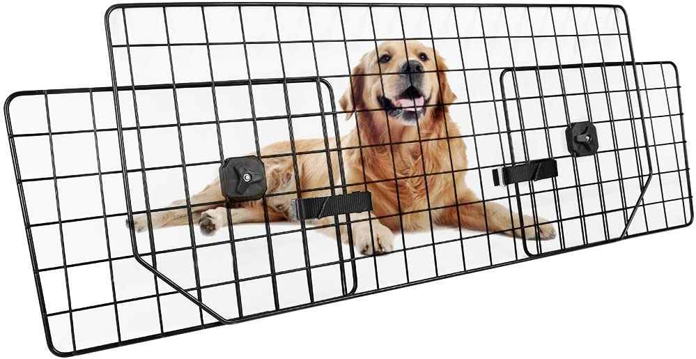 Dog Car Barrier for SUVs, Van, Vehicles – Adjustable Large Pet SUV Barriers Universal-Fit, Heavy-Duty Wire Mesh Dog Car Guard, SUV Pet Car Gate for Vehicles, Safety Car Divider for Dogs, Smooth Design