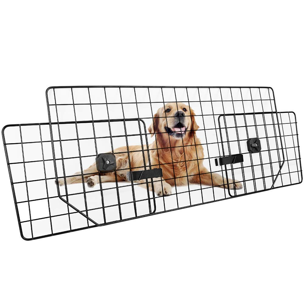 Dog Car Barrier for SUVs, Van, Vehicles - Adjustable Large Pet SUV Barriers Universal-Fit, Heavy-Duty Wire Mesh Dog Car Guard, SUV Pet Car Gate for Vehicles, Safety Car Divider for Dogs, Smooth Design by Rabbitgoo