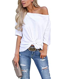 a3a39ff5ee94a2 LACOZY Women s Waffle Knit Off The Shoulder Tops Knot Batwing Shirt Tunic  Blouse