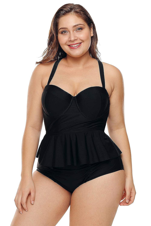 7d75665bad FUSENFENG Womens Plus Size Peplum Tankini Set Two Piece Bathing Suit  Swimwear at Amazon Women's Clothing store: