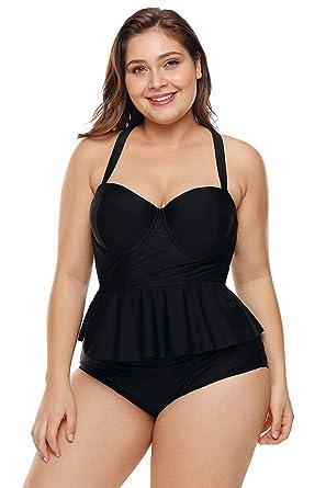 f9439ca110 FUSENFENG Womens Plus Size Peplum Tankini Set Two Piece Bathing Suit  Swimwear (Black, 3X