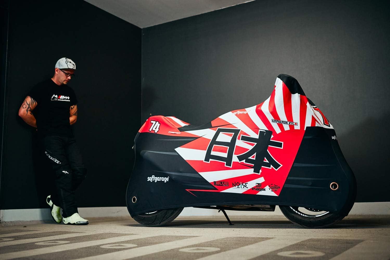 Softgarage Moto Race Design Redsun Outdoor Motorradabdeckung Faltgarage Abdeckplane Schutzhülle Regenfest Winterfest Staubdicht 508 A003979 Auto