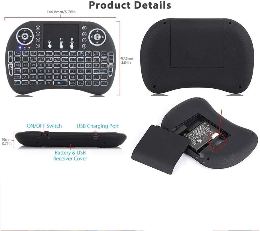 TYW Clavier, Petit Clavier, Jeux Claviers 4 Couleur rétro-éclairé I8 Mini Clavier sans Fil 2,4 GHz Anglais Russe Air Mouse avec pavé Tactile Télécommande D