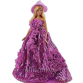Miunana 1 Princesa Vestido de Noche Ropa Vestir Fiesta +1 Sombrero Accesorios como Regalo para