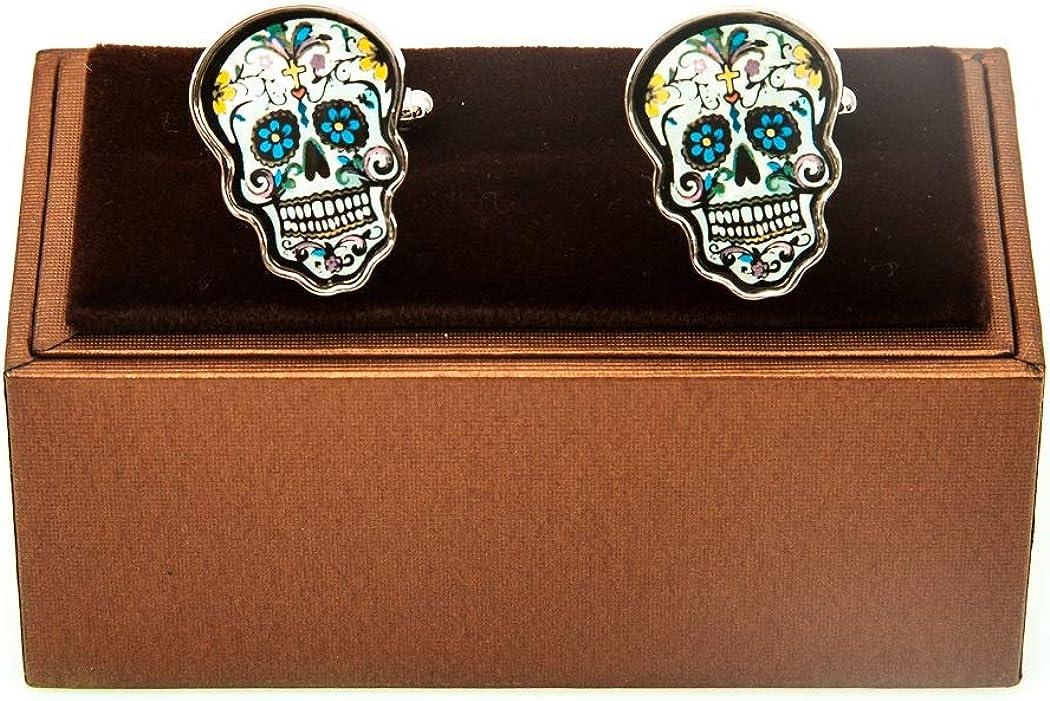 MRCUFF Skull Day of The Dead Dia de Los Muertos Pair Cufflinks in a Presentation Gift Box & Polishing Cloth