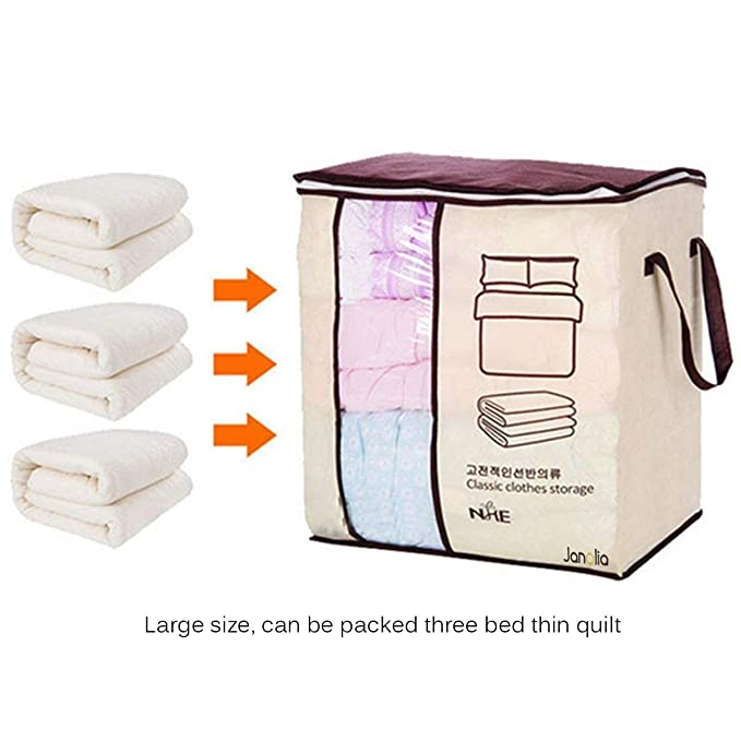Amazon.com: Janolia Clothes Blanket Quilts Storage Bag, Extra Space Storage Bag, Foldable Storage Organizers Closet, Eco Friendly Bamboo Non-Woven Fabric, ...