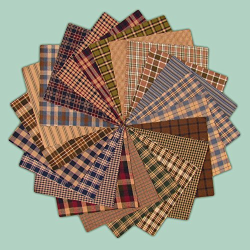 40 Cozy Charm Pack, 6 inch Precut Cotton Homespun Fabric Squares by Jubilee Creative Studio