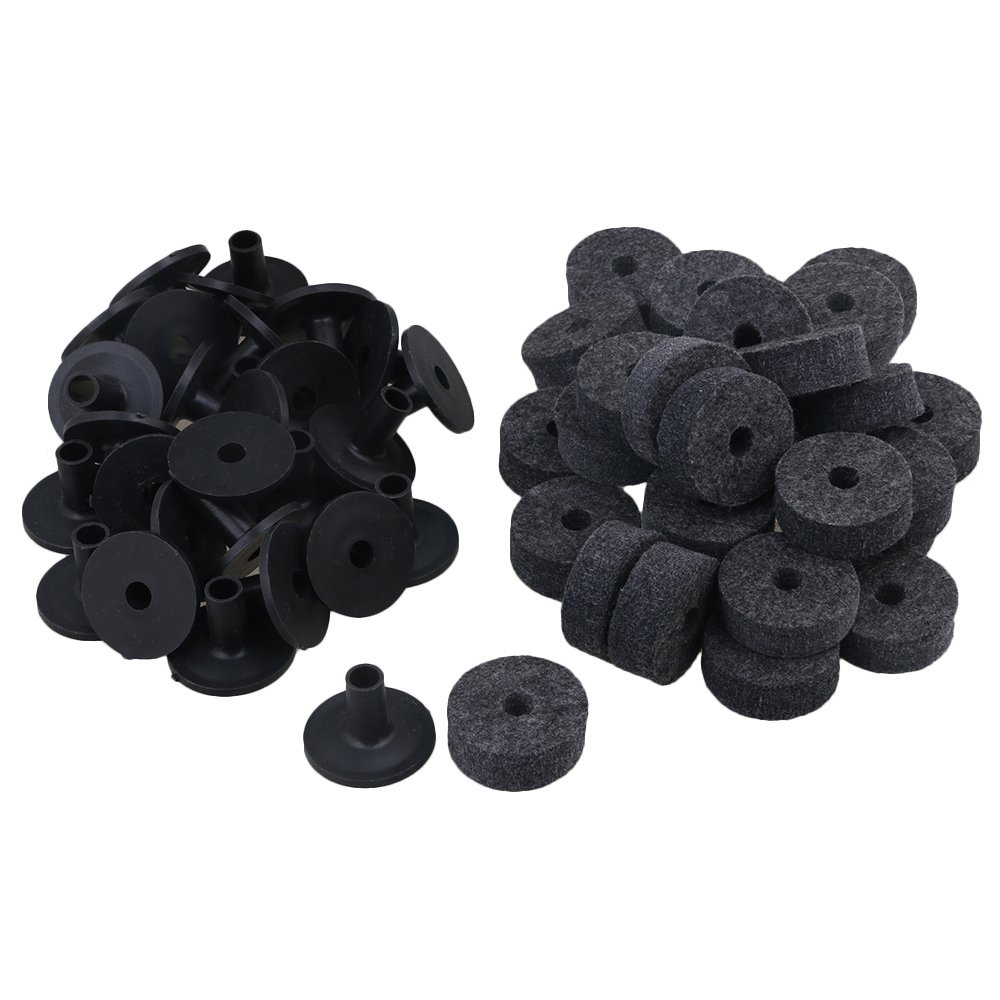 Yibuy Black Drum Set Replacement Parts 15mm Thick Felt Washers + Plastic Long Flanged Cymbal Sleeves Pack of 10 by Yibuy