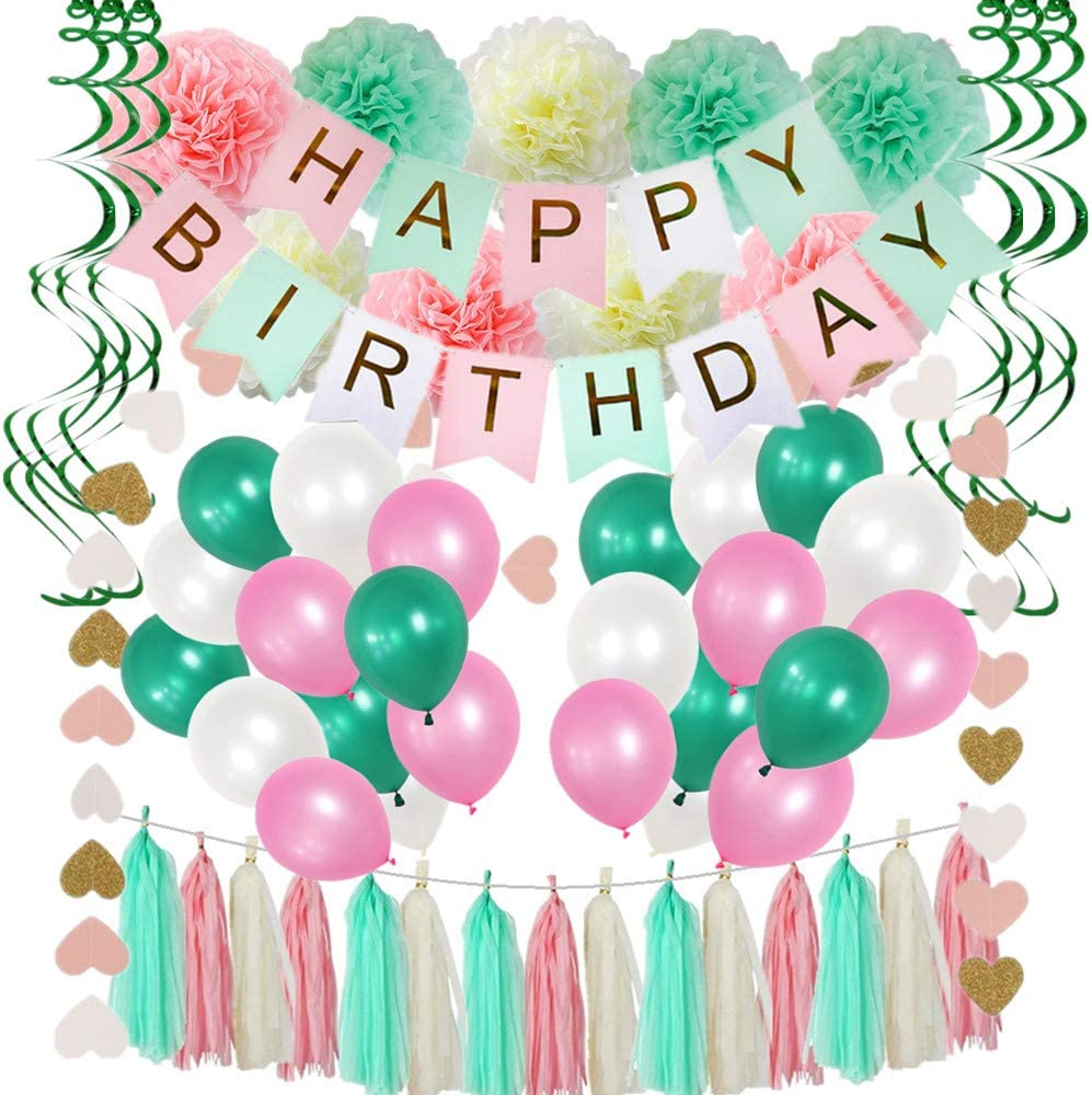 91 Piece Birthday Party Decorations,Pink And Mint Green Birthday Party Supplies For Women,Happy Birthday Banners,Pom Poms Flowers,Tissue Paper Tassels,Hanging Swirls,Latex Balloons,For Girls 1st Birthday Party Supplies And Baby Birthday