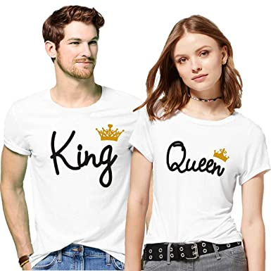 b44f578894 GiftsCafe Hangout Hub Men's and Women's Cotton King Queen with Golden Crown Printed  Couple T-