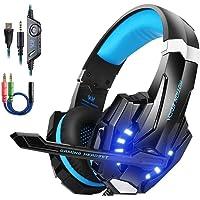 KotionEach PS4 Gaming Headsets mit Mikrofon LED Xbox One Headset Band Pro Stereo Kopfhörer Über-Ohr-Bass Noise Cancelling Stereo-Kopfhörer Handy spiele PC Multimedia Laptop Mac PS3 G9000 Blau