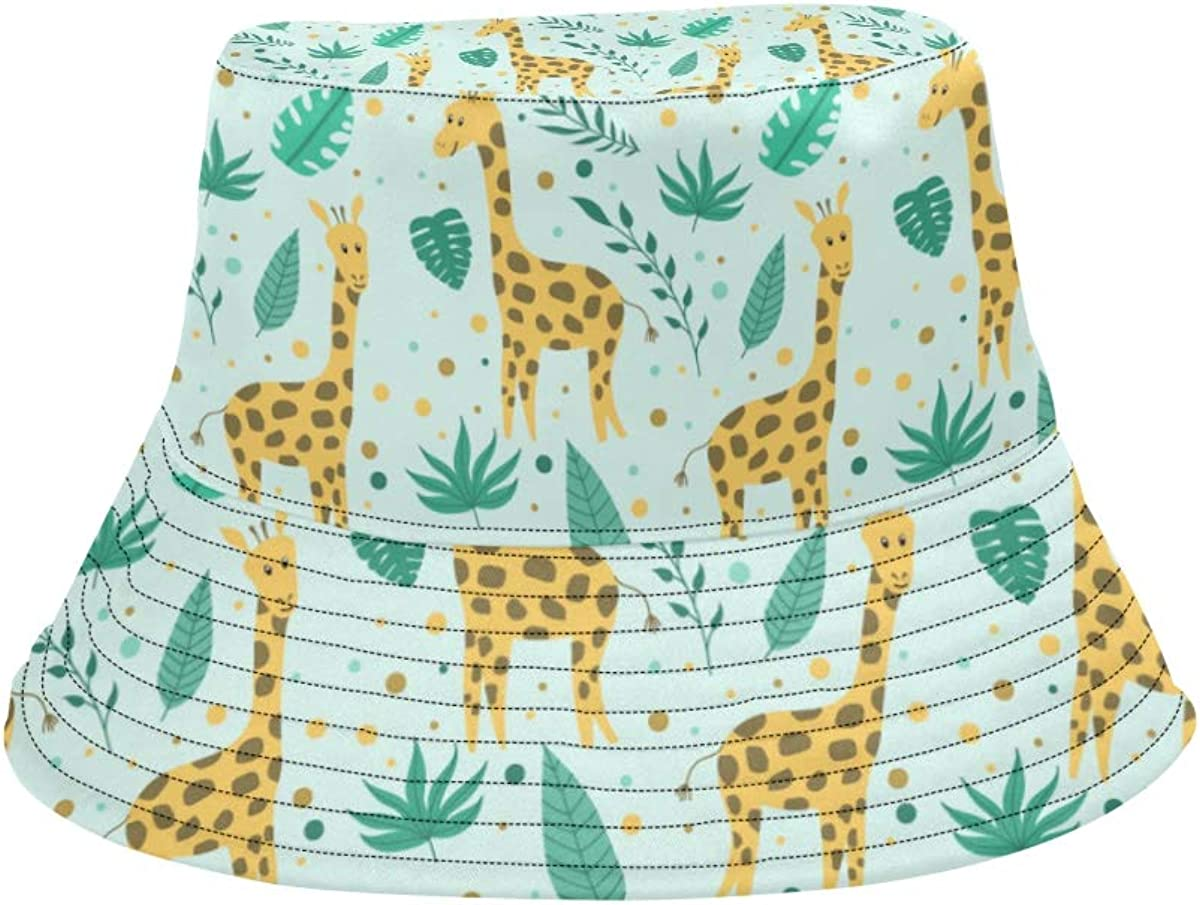 Giraffe Funny Particulr Animals Summer Unisex Fishing Sun Top Bucket Hats for Kid Teens Women and Men with Packable Fisherman Cap for Outdoor Baseball Sport Picnic