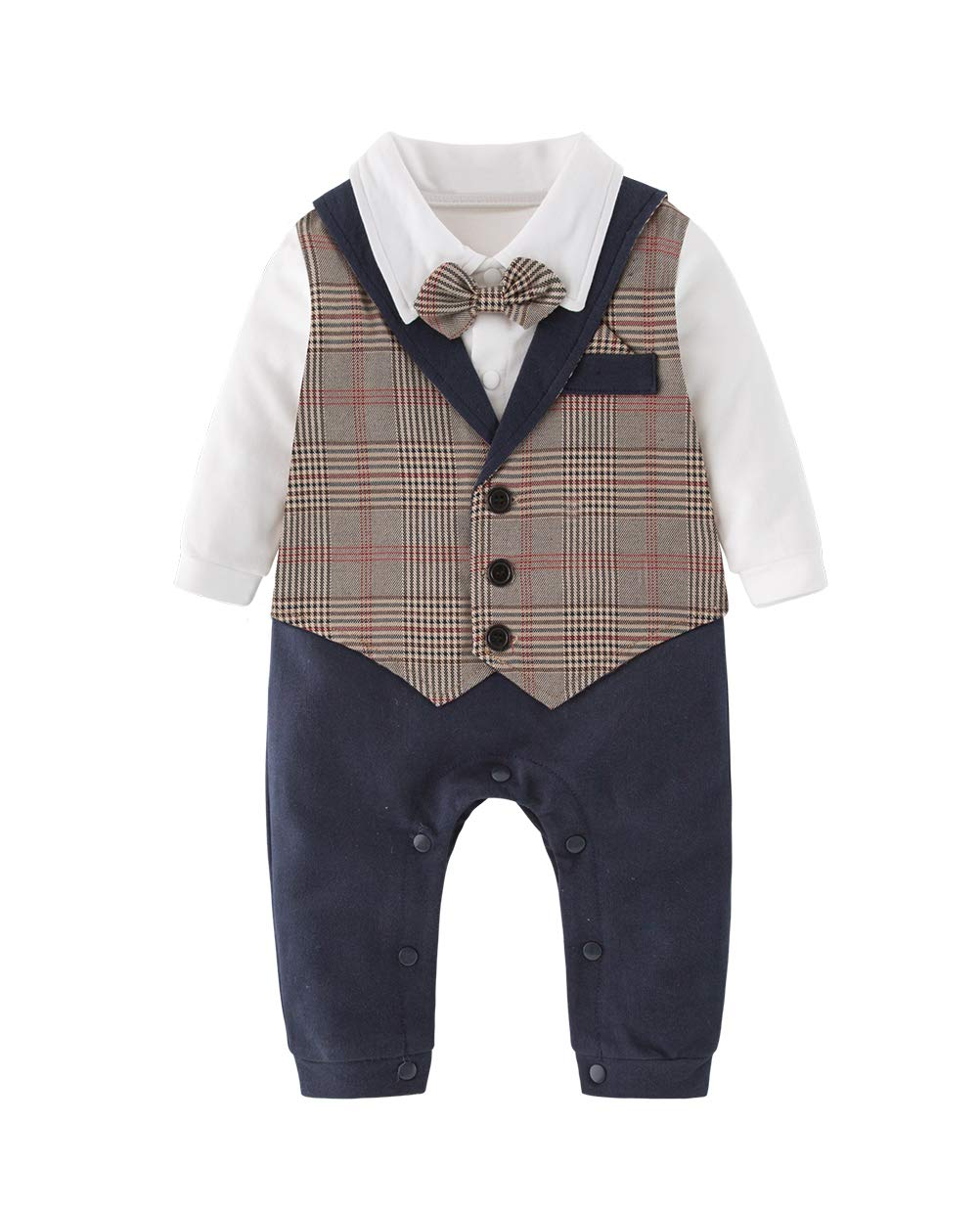 XM Nyan May's Baby Toddler Boys Gentleman Bowtie Faux Vest Romper Onesie