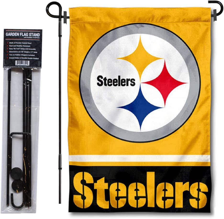 WinCraft Pittsburgh Steelers Gold Garden Flag with Stand Holder