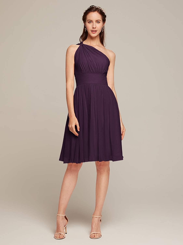 Alicepub Chiffon Bridesmaid Dress Short Cocktail Party Gown