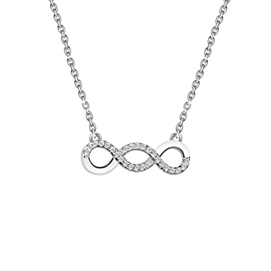 c2ec5aaf6 Women S925 Sterling Silver Infinity Necklace Crystal from Swarovski White  gold plated Chain Nickel Free and Allergen free 18inches Jewellery Gift  Box: ...