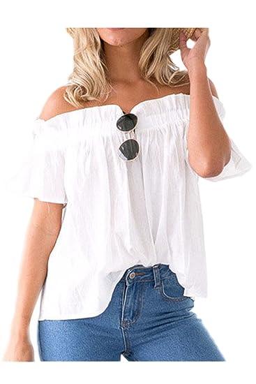 La Mujer Elegante Off Shoulder Ruffle Top De Manga Corta T - Shirt Blusas White L