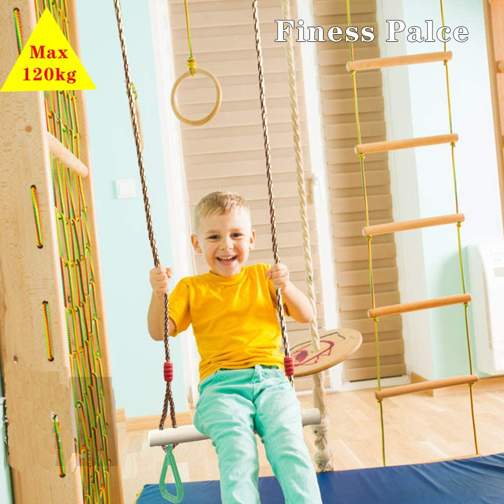 Yellow Flyzy Trapeze bar for Kids Trapeze Swing bar with Rings/& Locking Carabiners for Indoor Jungle Gym Play Set and Outdoor Playground for Swingset Ninja line Backyard