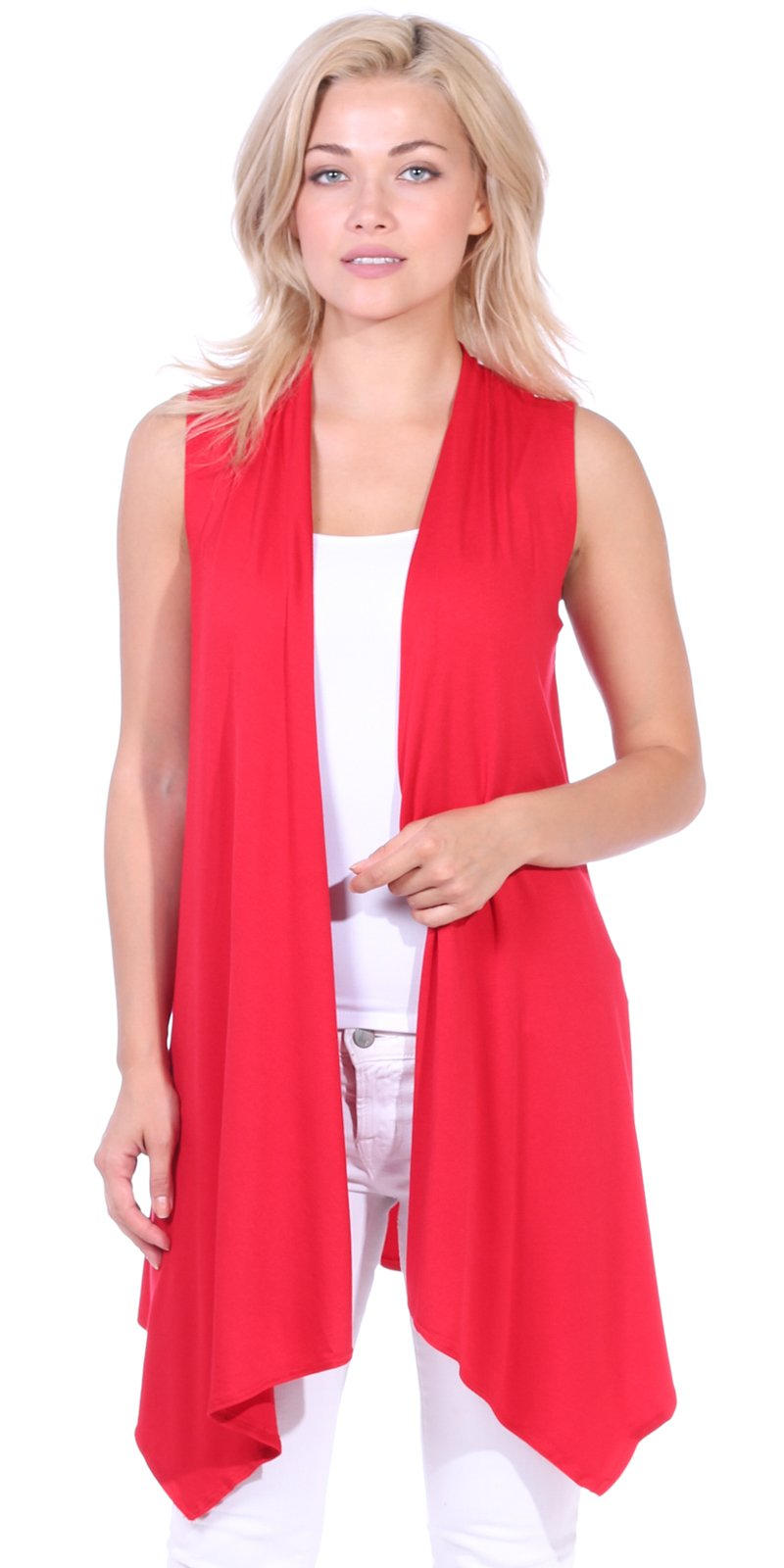 Popana Women's Casual Sleeveless Long Duster Cardigan Summer Vest Made in USA X-Large Red