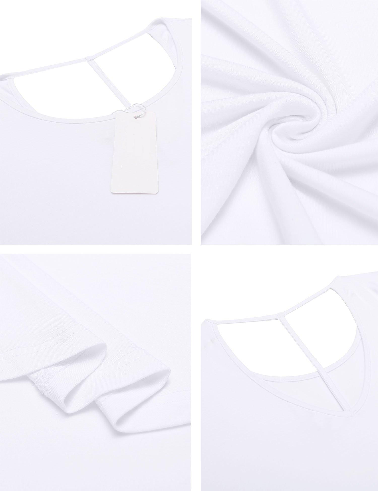 ELESOL Women Slim Fit Summer Tops Lightweight Basic High Low Hem T-Shirts White XXL by ELESOL (Image #6)