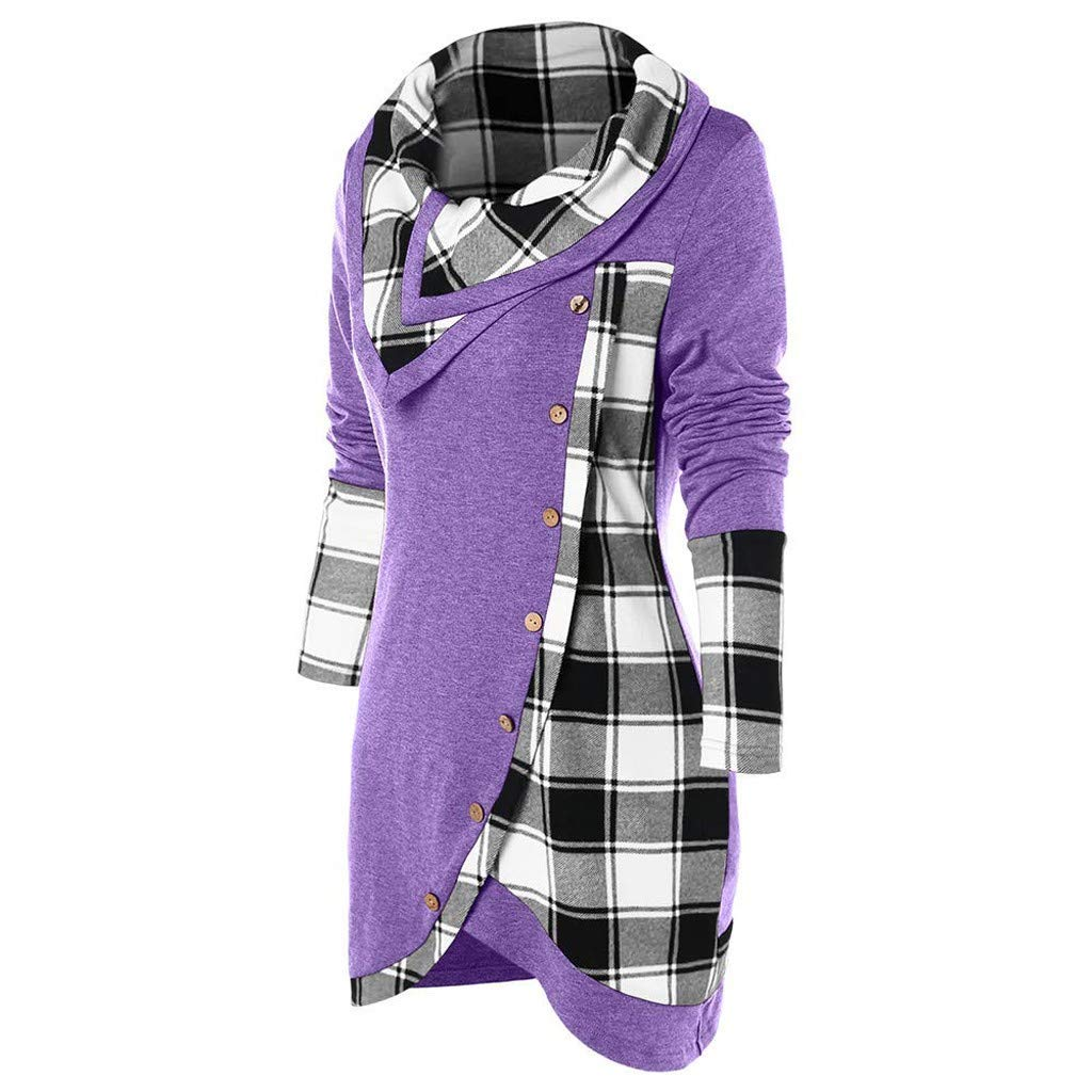 DBHAWK Fashion Turtleneck Turn-Down Collar Button Plaid Patchwork Top Blouse Tunic Asymmetrical T Shirts Womens Sweatshirt
