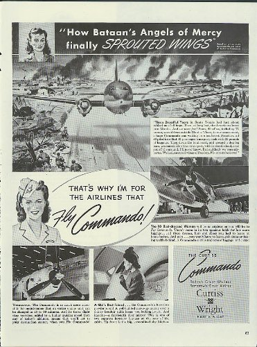 Battan's Angels of Mercy Sprouted Wings Curtiss Wright C-46 Commando ad 1945