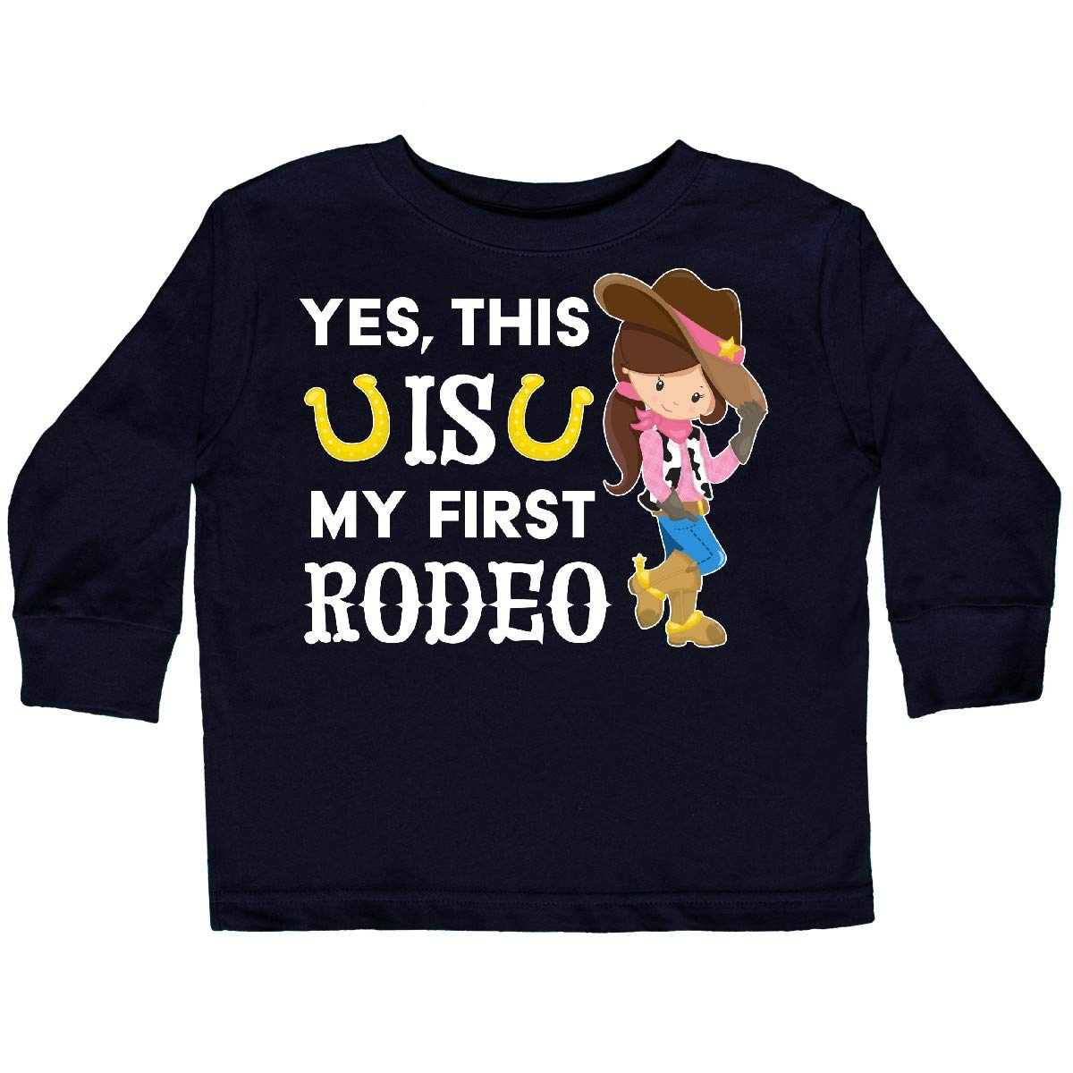 This is My First Rodeo Cowgirl in Toddler Long Sleeve T-Shirt inktastic Yes