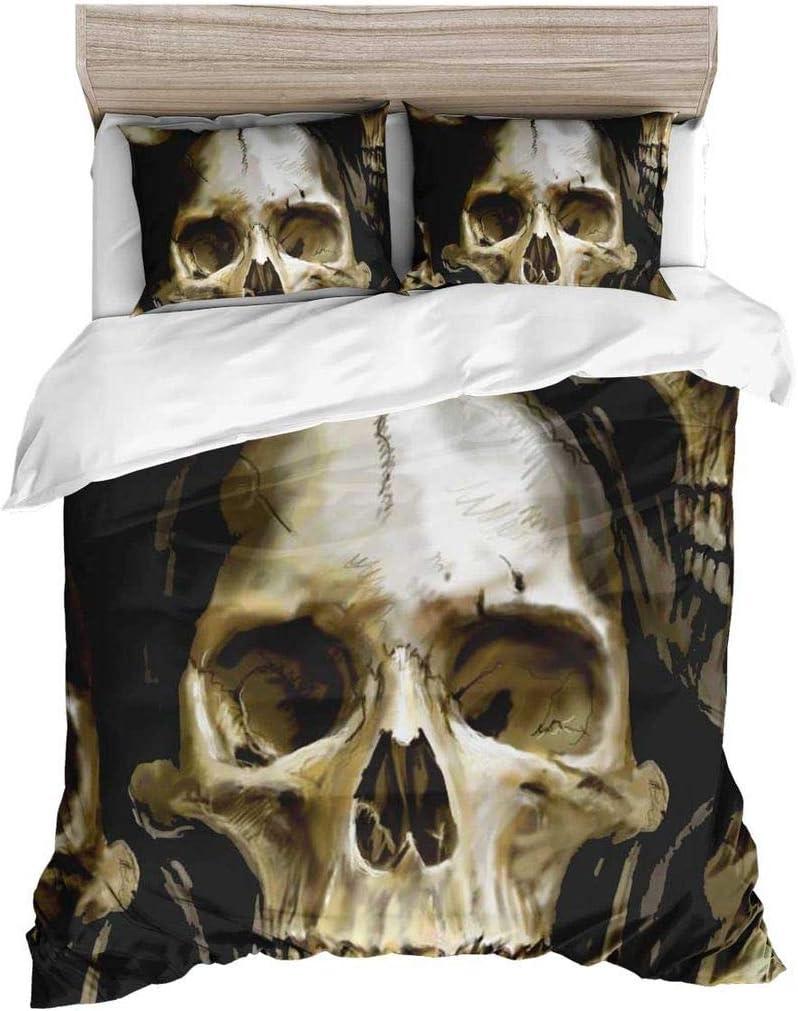 Erosebridal Sugar Skull Bedding Set Full Size 3D Printed Duvet Cover Sets Horror Skull Quilt Cover Halloween Theme Comforter Cover Bedding Decoration 3 Piece with 2 Pillow Cases