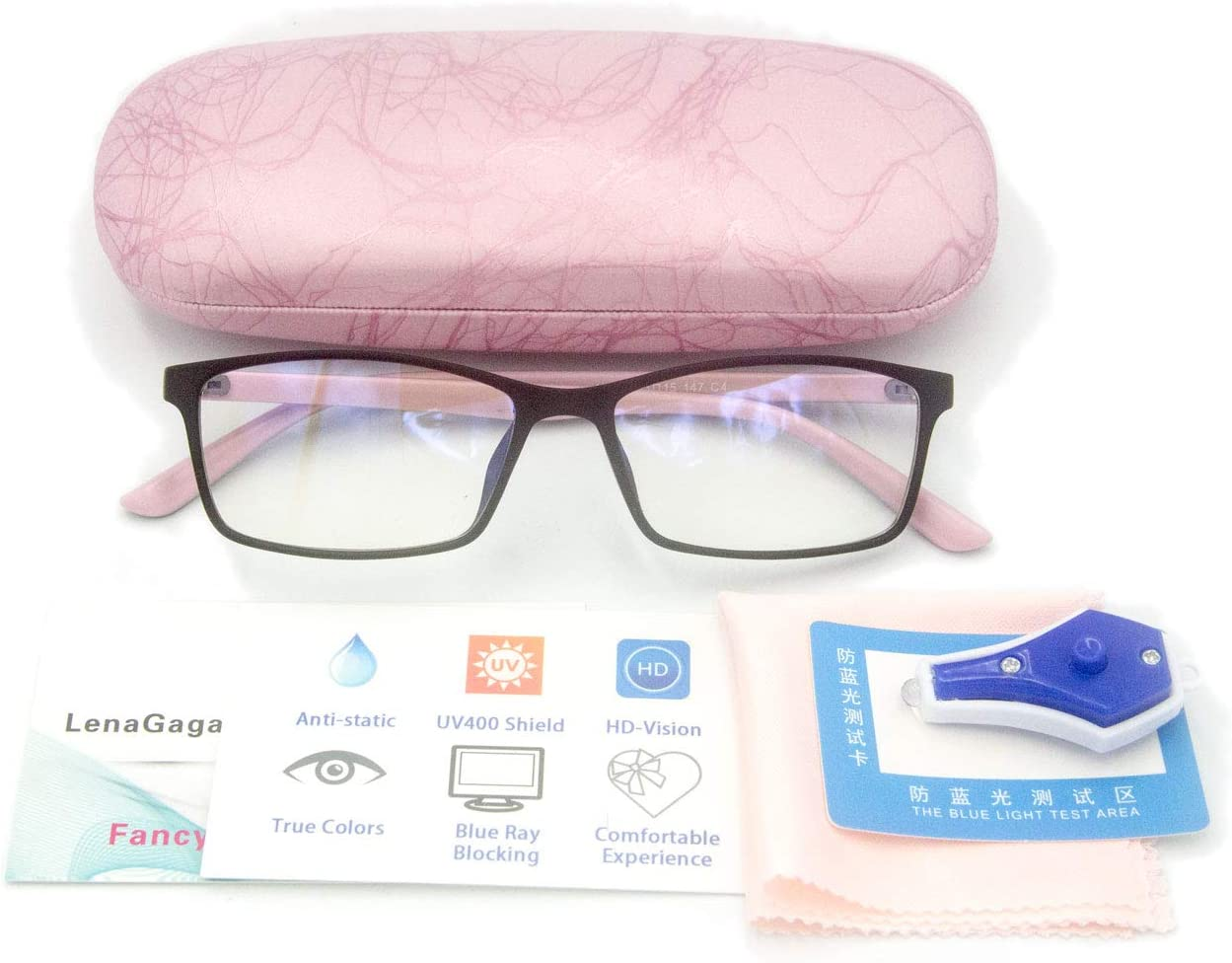 Women Anti Blue Light Glasses Block Eye Strain Glare with Case Tester, Gaming Computer Glasses Blue Light Block Glasses Filter UV Blocker Clear Lens Small Face Narrow Rectangle Nerd Frame Pink Black: Computers & Accessories