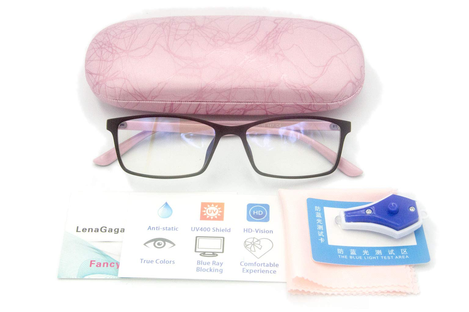 Women Anti Blue Light Glasses Block Eye Strain Glare with Case Tester, Gaming Computer Glasses Blue Light Block Glasses Filter UV Blocker Clear Lens Small Face Narrow Rectangle Nerd Frame Pink Black by Lena Gaga