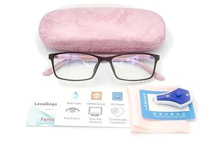870adb836b40 Women Anti Blue Light Glasses Block Eye Strain Glare with Case Tester,  Gaming Computer Glasses