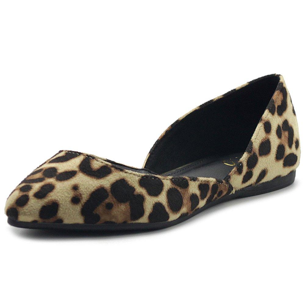Ollio Women's Shoes Faux Suede Slip On Comfort Light Pointed Toe Ballet Flat ZM1710F (8 B(M) US, Leopard)