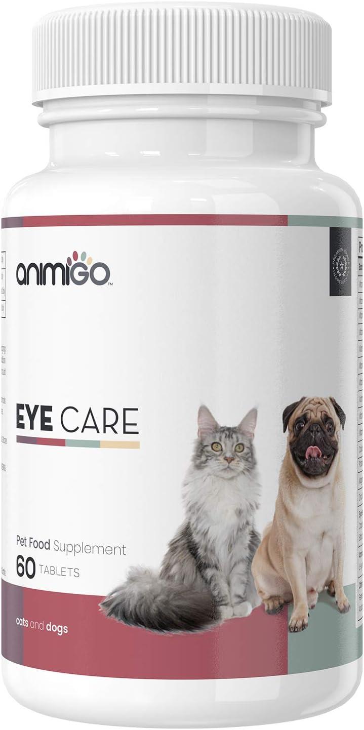 Animigo Suplemento Ocular para Perros y Gatos | Complemento Natural para Salud, Apoyo y Mantenimiento Ocular de Mascotas | con CoQ10, Luteína, Zeaxantina, Vitaminas y Minerales | 60 Tabletas