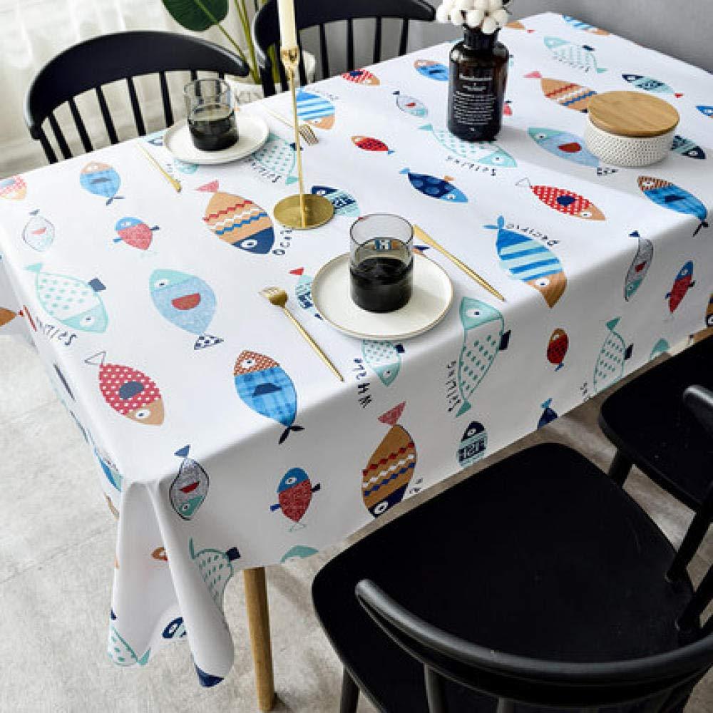 WJJYTX Wachstuch tischdecke, wasserdichte längliche rechteckige Tabellen-Abdeckungs-Inneneinrichtung für Partei-Hochzeits-Fischdruck @ 140 * 180