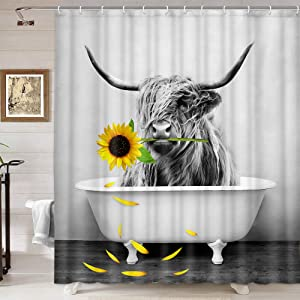 Farmhouse Shower Curtain Highland Cow Bull in Bathtub Sunflower Shower Curtains Set, Western Wildlife Funny Cattle White Grey Fabric Farm Animals Shower Curtain for Bathroom Kids Decor, 69X70IN