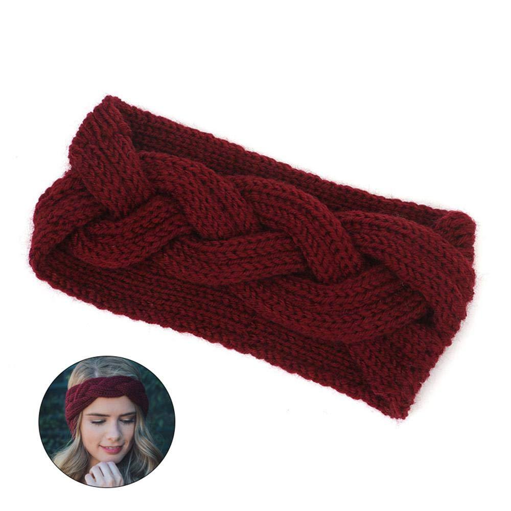 Accesorio Para Cabeza de Moda,Rojo Vino Diademas de Punto Invierno para Mujer Turbantes para Pelo,Deporte El/ástico Turbante Anudado El/ástico Cintas Bandas