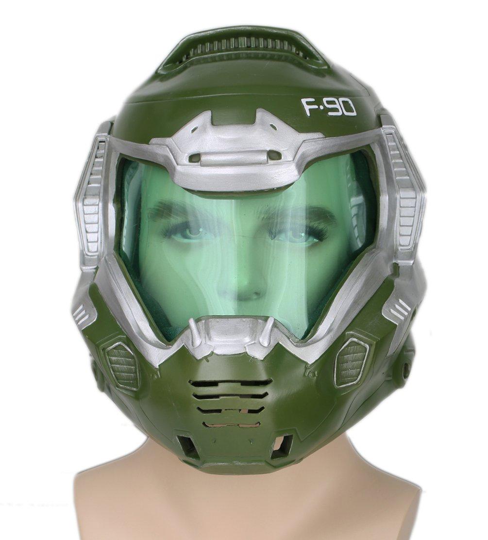 xcoser DoomGuy Helmet Deluxe Green Mask Visor Halloween Cosplay Costume Prop Adult