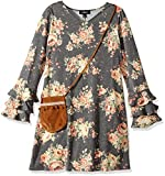 Amy Byer Big Girls' Tiered Sleeve Print Knit Dress with Bag, Grey, XL