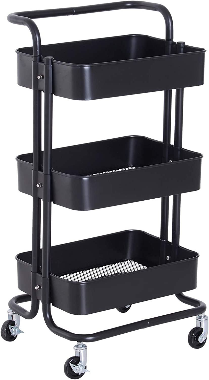HOMCOM 3-Tier Serving Utility Cart Rolling Metal Storage Trolly Mesh Bottom Tray Mobile Kitchen Black