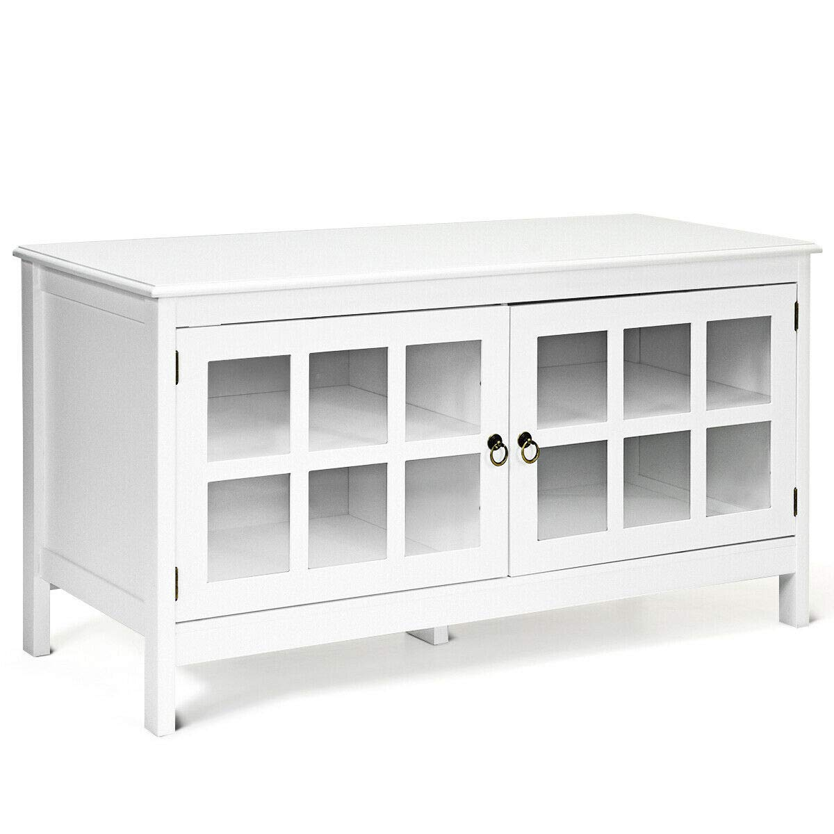 White Wood Modern TV Stand for 50 Inch TV with Storage and Glass Doors for Living Room, Bedroom, Entertainment Center, Media Console Table, Home Furniture by Home & Patio Furniture