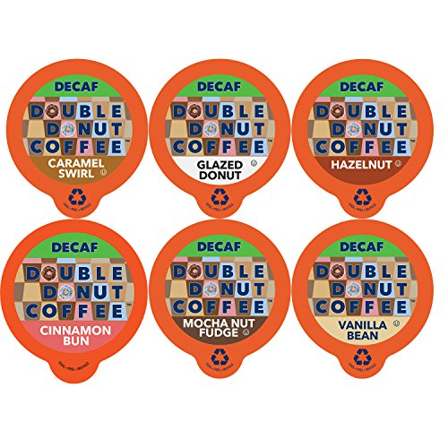 Twin Donut Coffee Decaf Flavored Coffee Single Serve Cups For Keurig K Cup Brewer Variety Pack Sampler, 72 Count