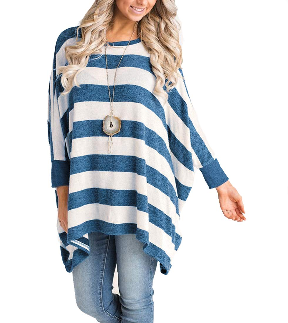 MIROL Women's Casual Long Sleeve Striped Poncho Style Asymmetrical Hem Loose Fit Tunic Tops